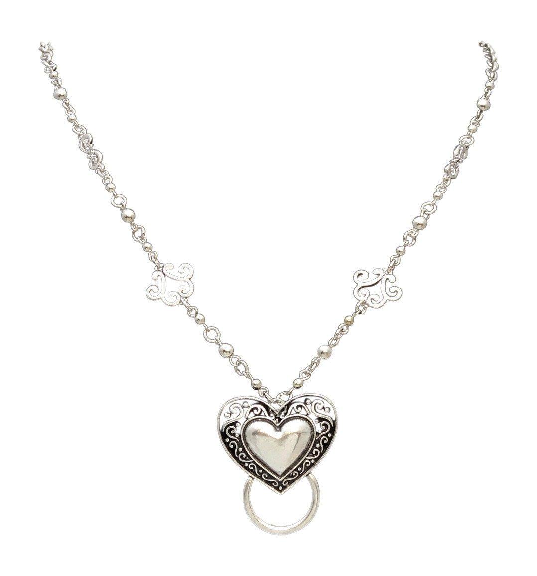 New Eyeglass / Id Badge Holder Necklace Lanyard with Ornate Heart Pendant