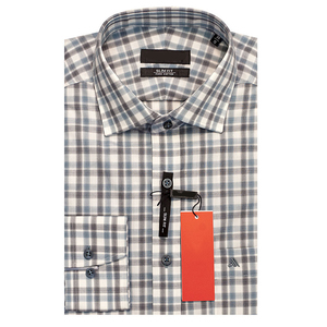 Formal long sleeve color contrast checked cotton shirt for men
