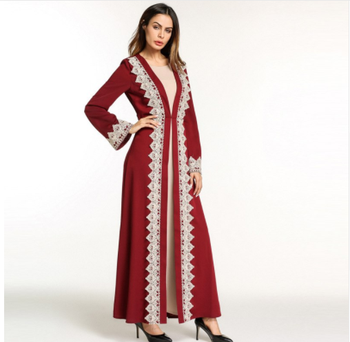 Moslim Abaya Dubai New Style Patchwork Red Party Long Muslim Dress Kaftan Islamic Women Maxi Bandage Dresses Fairy Dreams