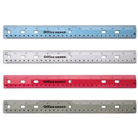 "Office Depot Transparent 12"" Plastic Ruler for 3-Ring Binders (Set of 4 Assorted Colors)"