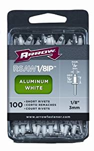 Arrow RSAW1/8IP Short White Aluminum 1/8-Inch Rivets, 100-Pack, Model: RSAW1/8IP, Tools & Hardware store