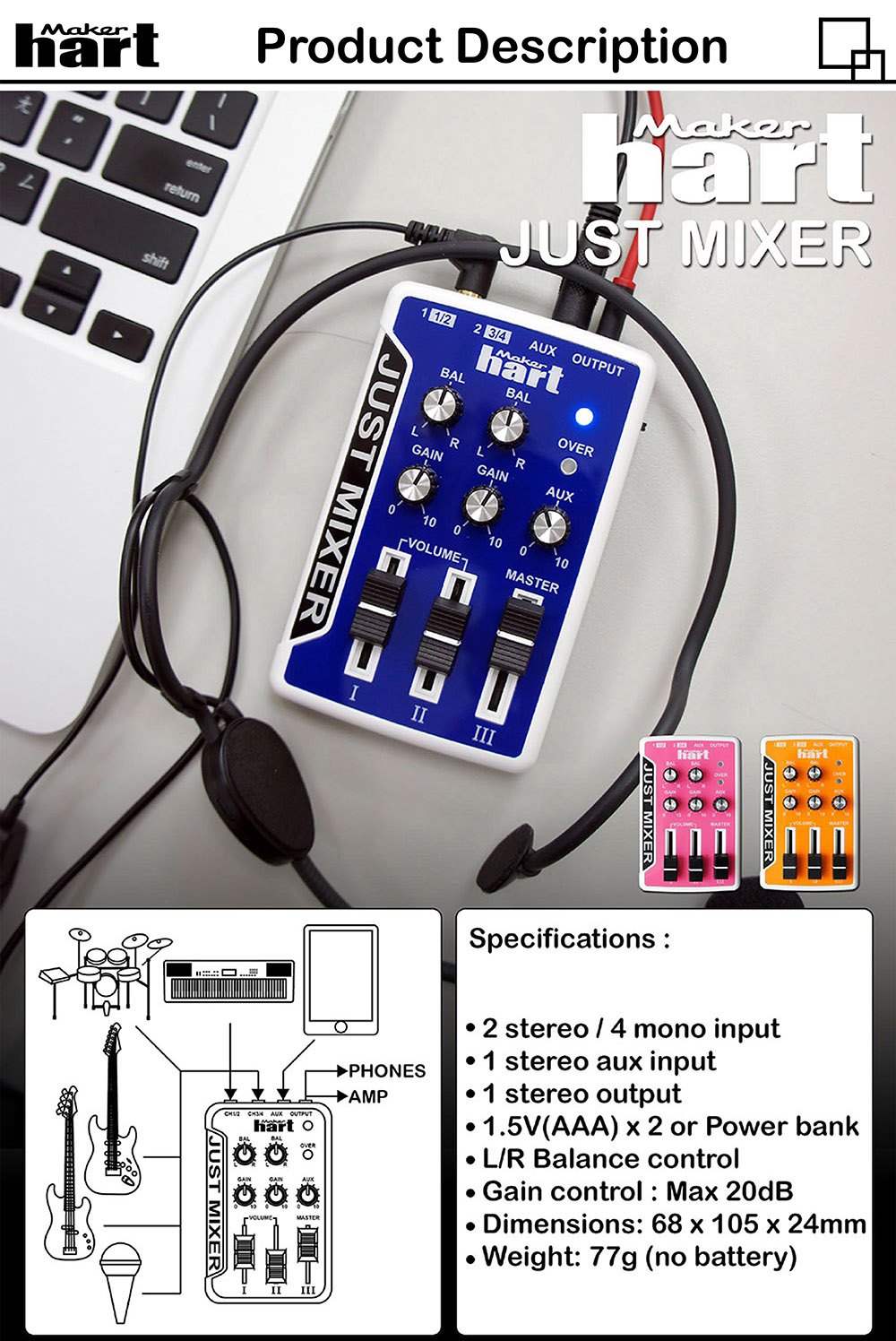 Pink battery powered Dj Music audio mixer