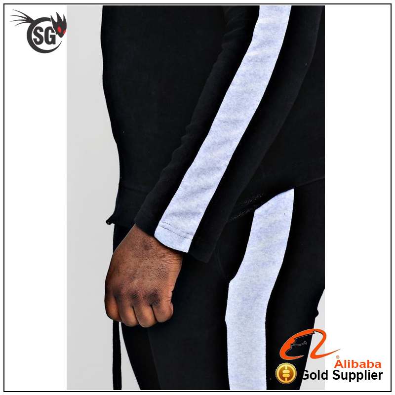 slim fit tracksuit with high quality embroidery or print logo cotton tracksuit or polyester tracksuit