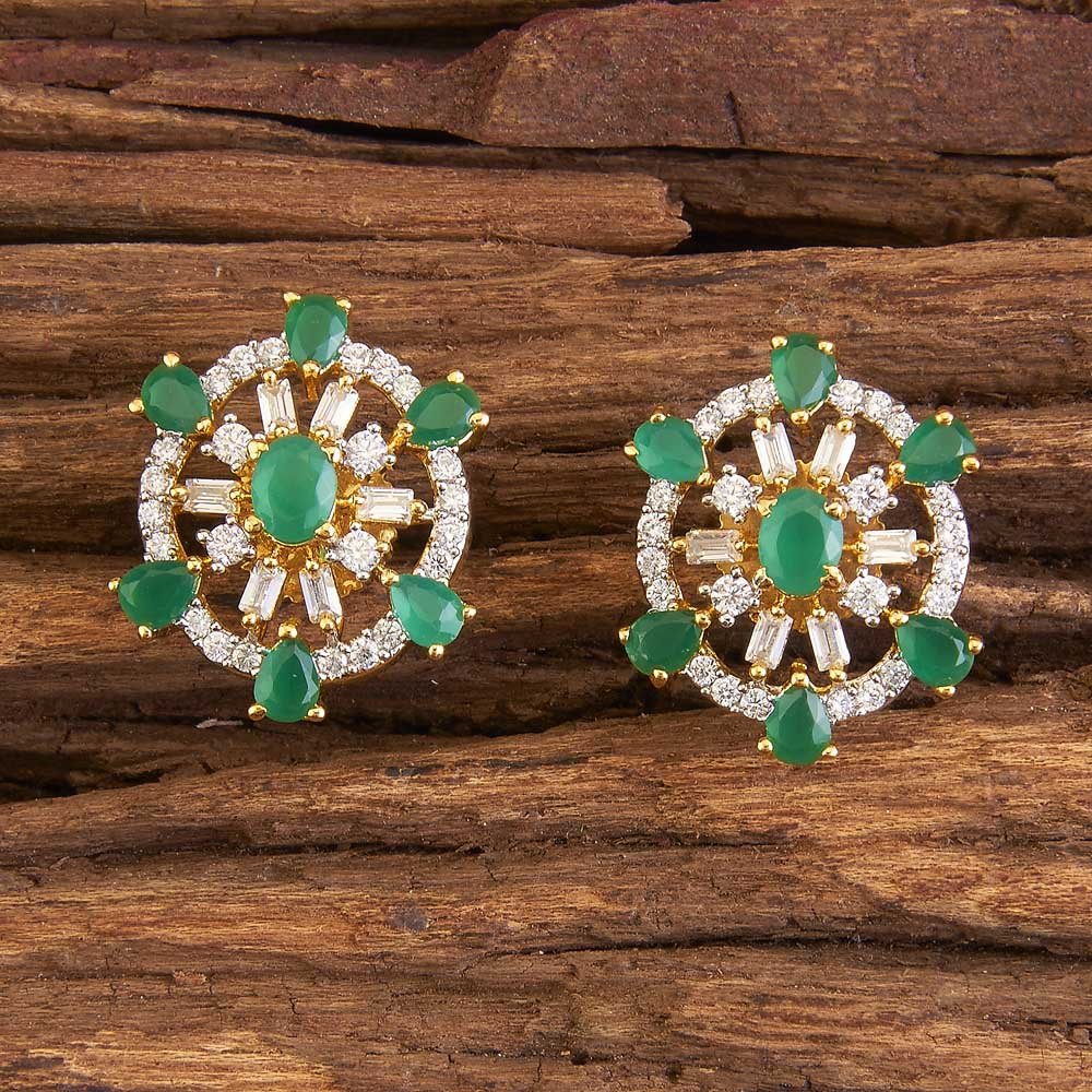 American Diamond Stud Earring in Fashion Jewelry 58348 Green