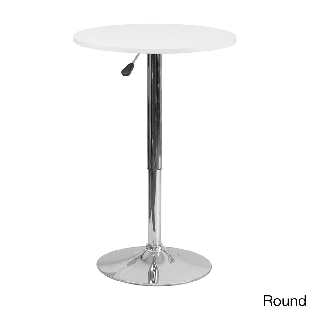 Offex 23.75'' Adjustable Height White Wood Pedestal Table Round