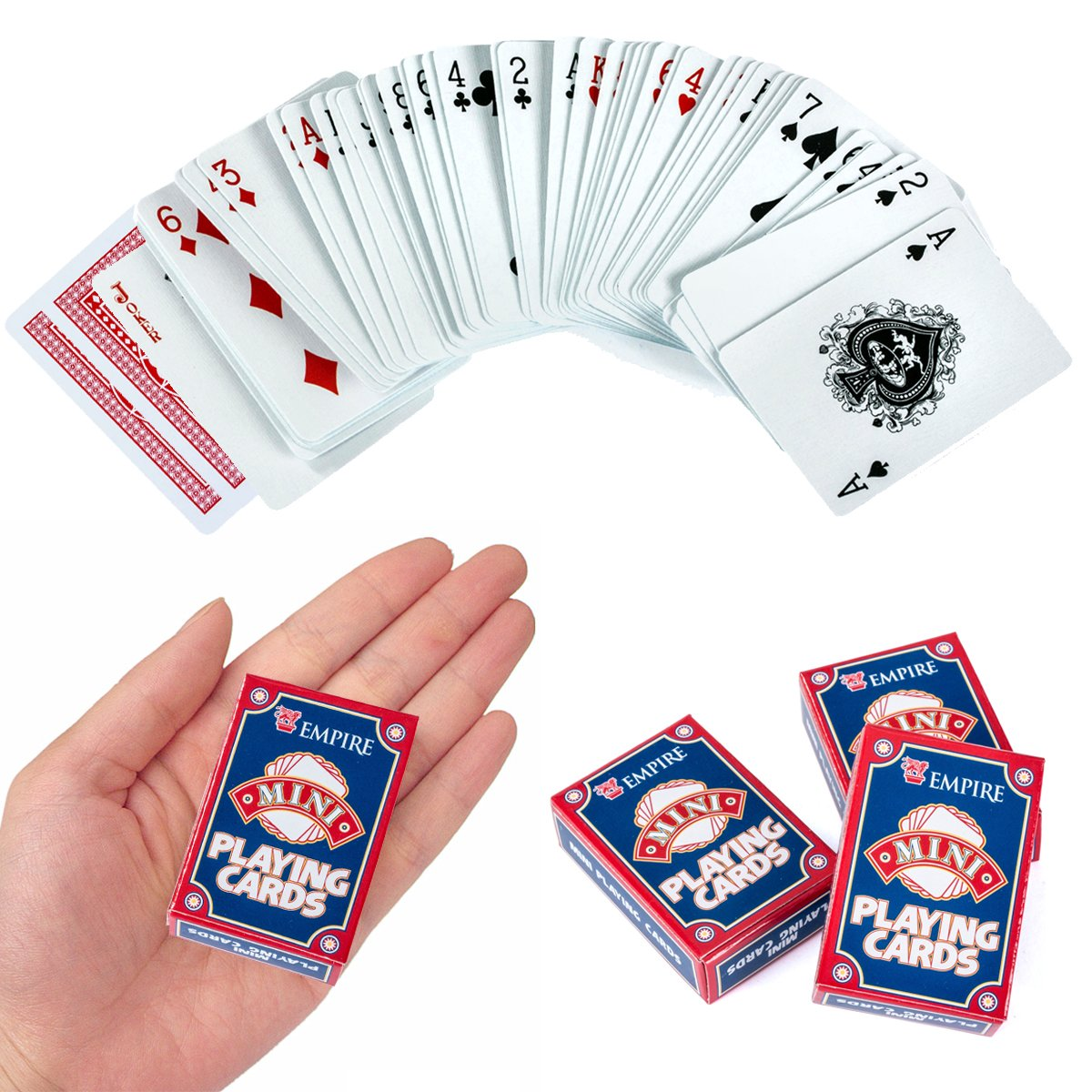Tigerdoe Mini Playing Cards - Casino Party Supplies, Poker Cards, Magic Tricks by (3 pack)