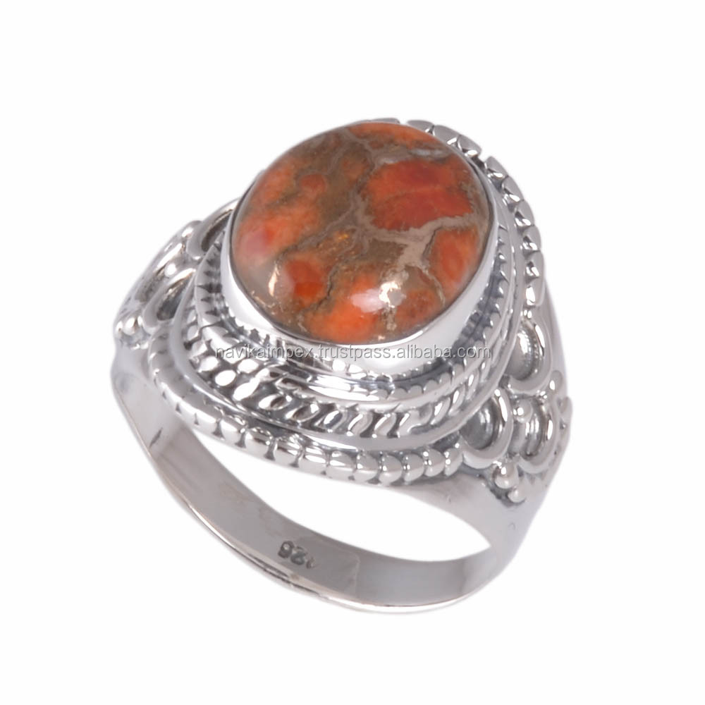Best selling 925 sterling orange copper turquoise silver ring