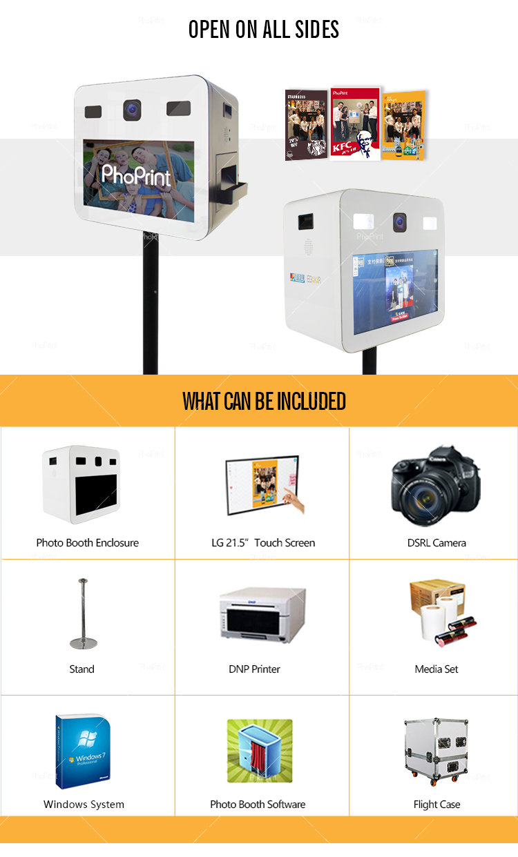 Smartphone Photo Printers Kiosk Booth With Camera That Instantly Prints Pictures