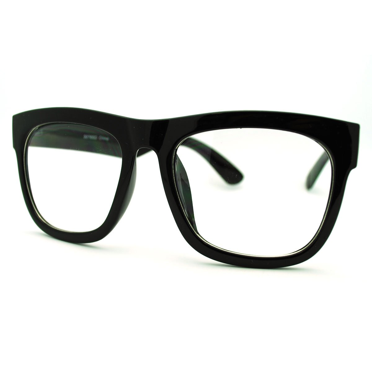 e221dfeab40 Get Quotations · Black Oversized Square Glasses Thick Horn Rim Clear Lens  Frame