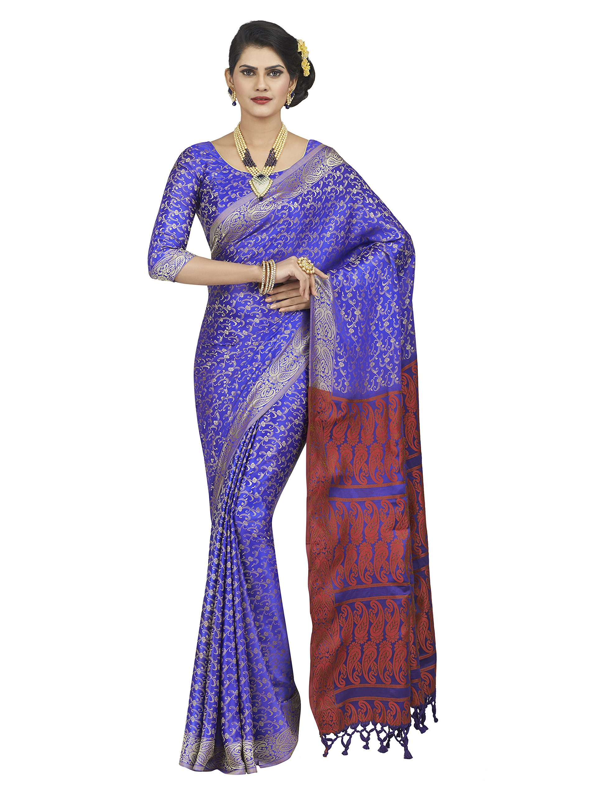 7731adcd1b96f Get Quotations · Shonaya Women s Woven Polyester Silk Blue Designer Saree  with Unstitched Blouse Piece