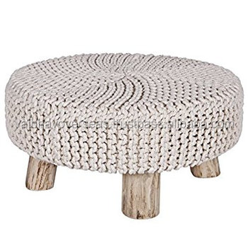 Magnificent Hand Knitted Cotton Pouf With Wooden Base Buy Indian Pouf Square Pouf Woven Pouf Ottoman Product On Alibaba Com Frankydiablos Diy Chair Ideas Frankydiabloscom
