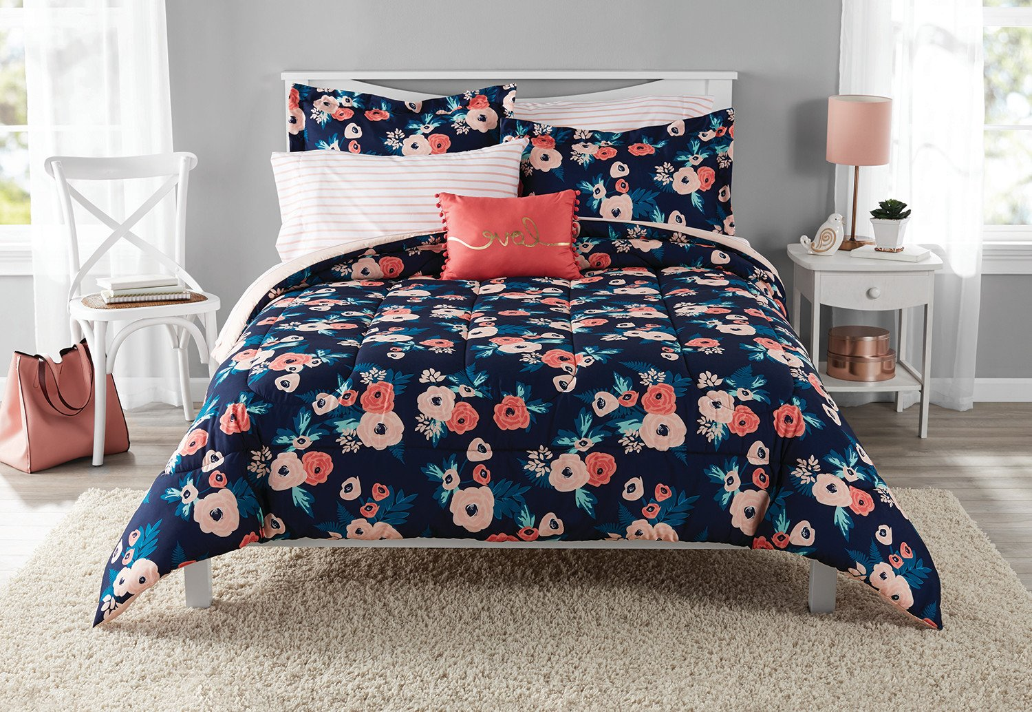 8 Piece Navy Blue Pink Garden Flowers Theme Comforter Queen Set, Elegant All Over Boho Chic Bohemian Floral Print, Stylish Stripes Design Reversible Bedding, Bright Colors Blush Coral, For Girls/Teens