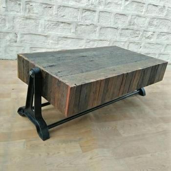 Industrial Vintage Rail Wood Coffee Table, Vintage Sleeper Wood Coffee Table