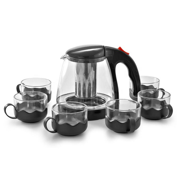 Nuevo estilo extraíble de acero inoxidable infusor hervidor de té de vidrio de té tetera