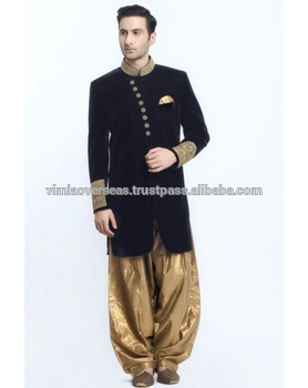 Indian Bollywood Indo Western Mens Sherwani Wedding Dress Jacket