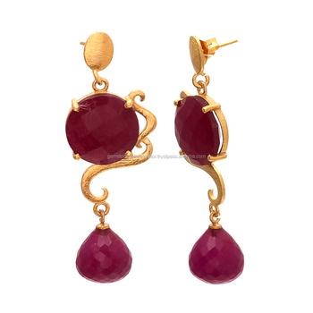 Modern Designer Wear Dyed Ruby Drop Gold Earring