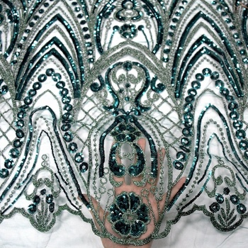 newest dark green sequin net embroidery fabric embroidery tulle lace wedding lace fabric with beads HY0721-2