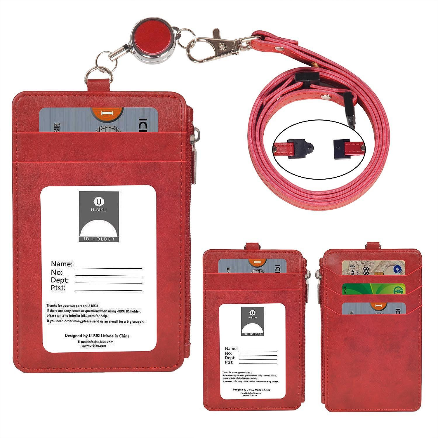 ID Card Holder Wallet, U-BIKU PU Leather Badge Holder with 1 ID Window, 5 Card Slot and Side Zipper, 1PC Retractable Reel,1PC Neck Lanyard and 1PC Wrist Strap (Red)