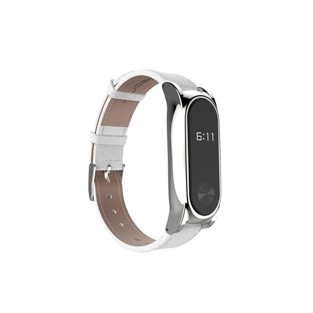 Replacement Leather Strap Band, Hosamtel Adjustable Smart Watch Wristband Bracelet with Metal Clasp For Xiaomi Mi Band 2 Smart Bracelet P49 (White)