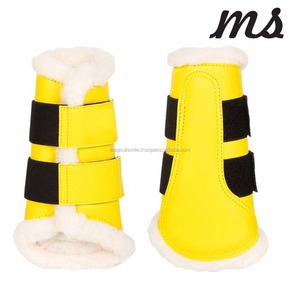 HORSE PATENT BOOTS YELLOW COLOR SHEEP SKIN HORSE RIDING BOOTS ALL PURPOSE USE HORSE