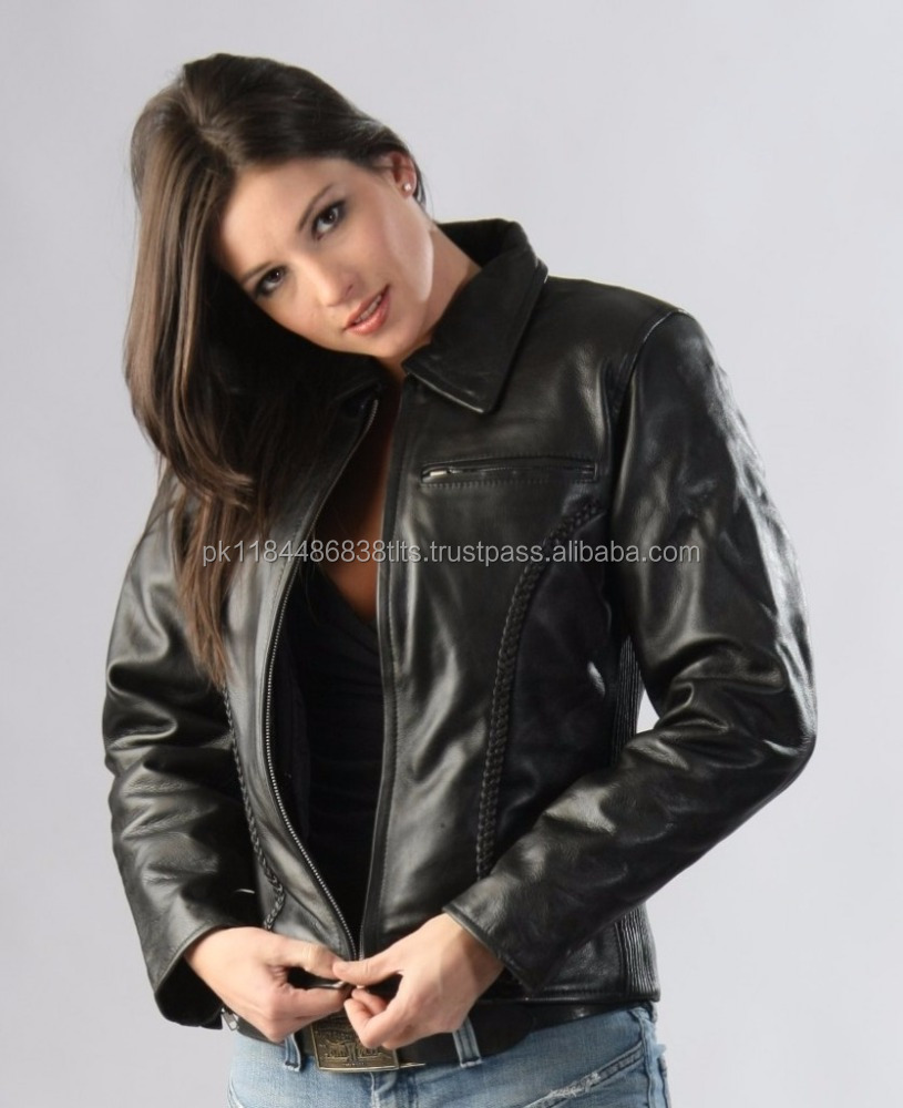 WoMen Real Sheep Black Mens Leather Jacket