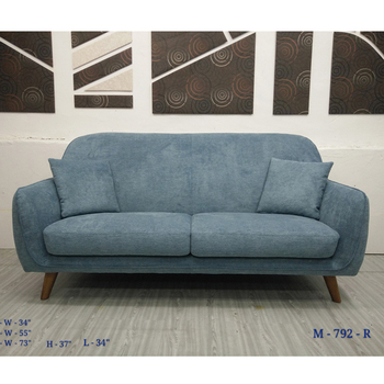 Fabric Sofa With Round Wooden Leg