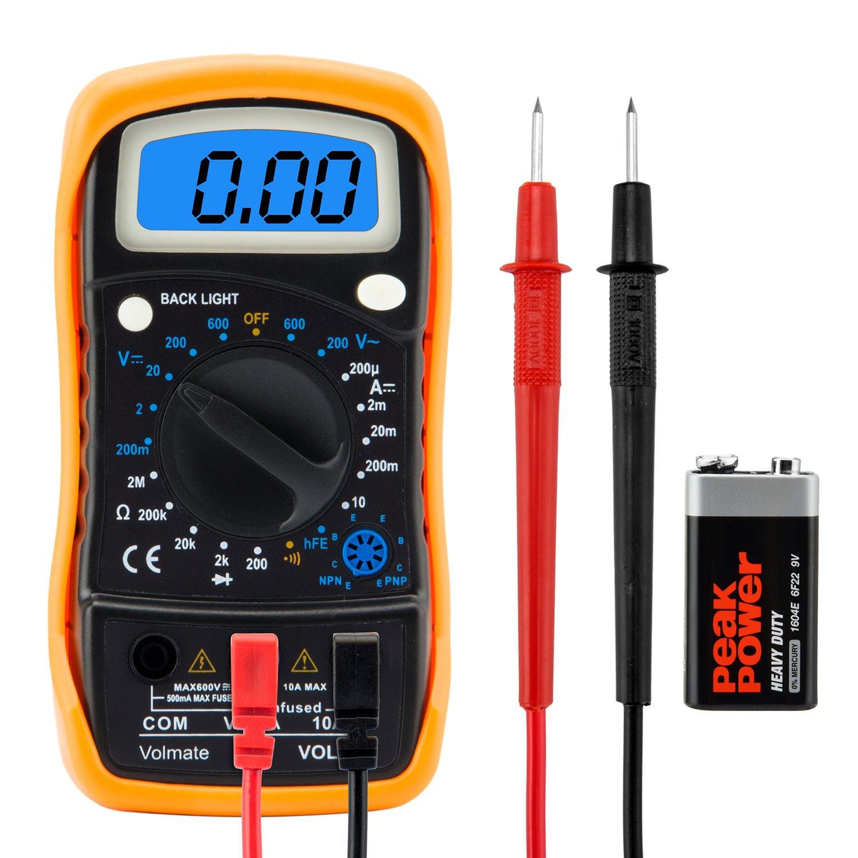 Volmate Digital LCD Voltmeter Ammeter Ohmmeter Multimeter Volt AC DC Tester Meter (Second Generation)