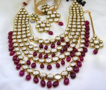 Red Kundan Mala Long Necklace Set Indian Bridal Wedding Jewelry