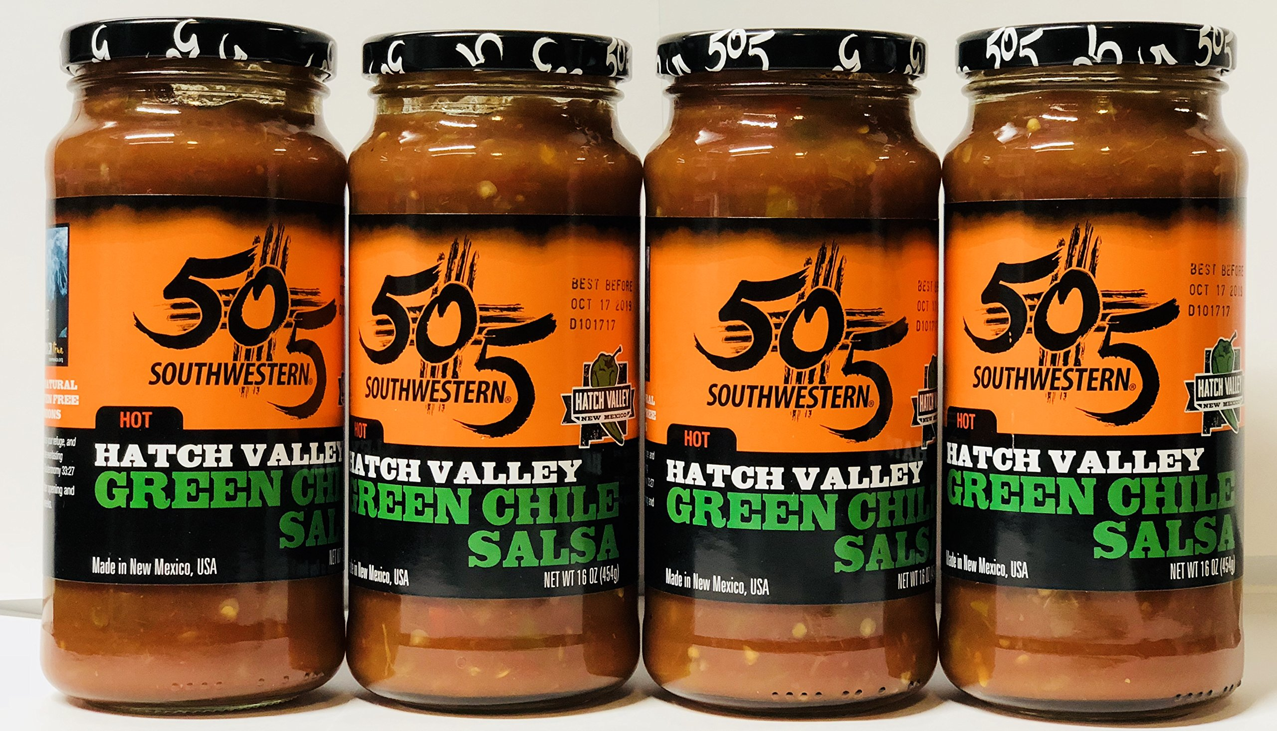 505 southwestern hatch valley hot green chile salsa 16 oz. (pack of 4)
