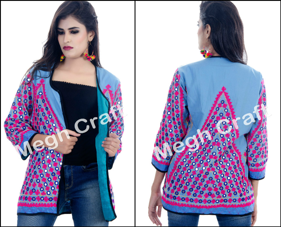 Designer Kutch Jacket - Gujarati Kutch handmade embroidered jacket- Indian embroidered jackets coat
