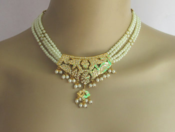 Pearl Jewellery Necklace >> Jadau Bridal Necklace Set Choker Pearl Gold Pendant Necklace With
