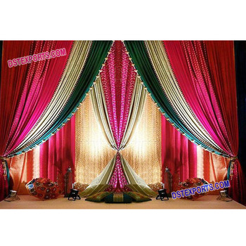 Asian Wedding Stage Backdrop Curtains,Indian Wedding Colourful Lehriya  Backdrop,Indian Wedding Backdrop Curtains Decoration - Buy Wedding Stage