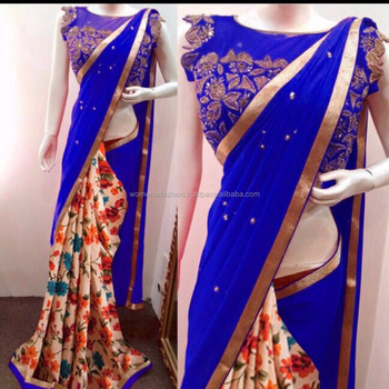 New Design Of 2017 Ending For Diwali Festival Geogroette With Diamond Work And Printed Saree Buy Saree North Indian Designer Sarees Border Design Saree Product On Alibaba Com