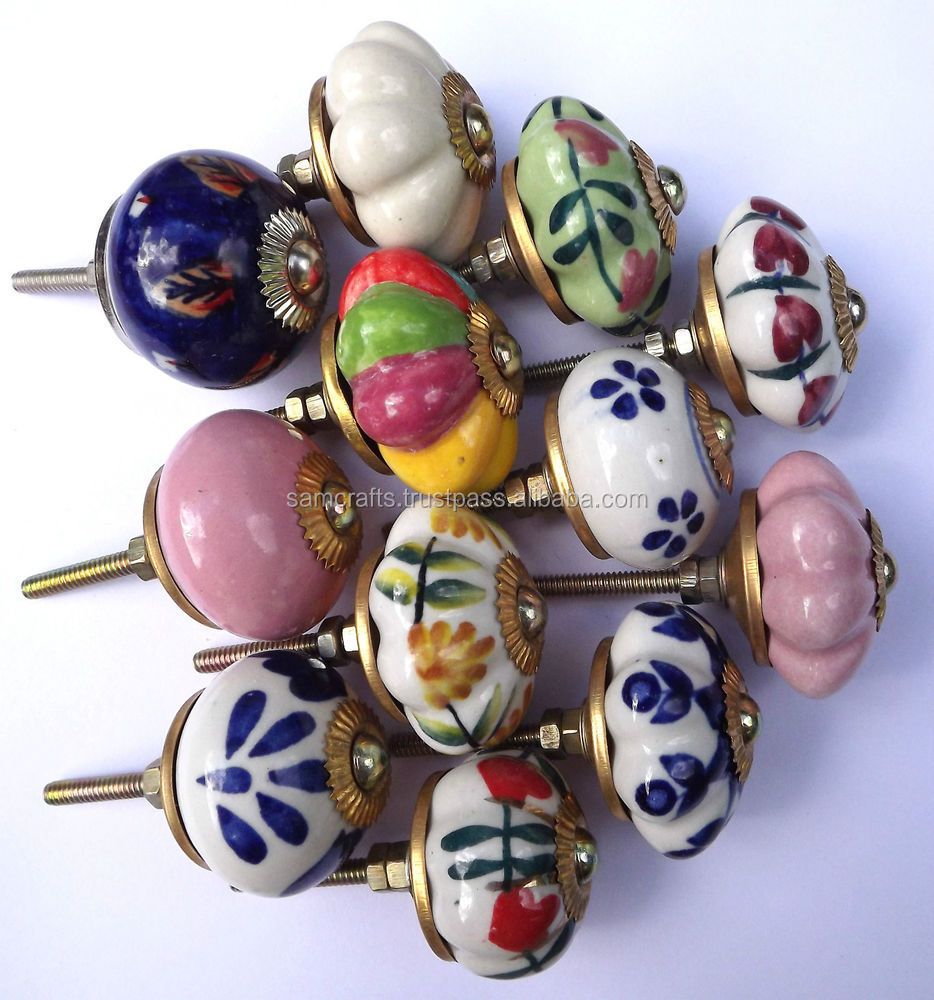 Ceramic Door Knobs/wholesale Decorative Colorful Knobs/for Kitchen ...