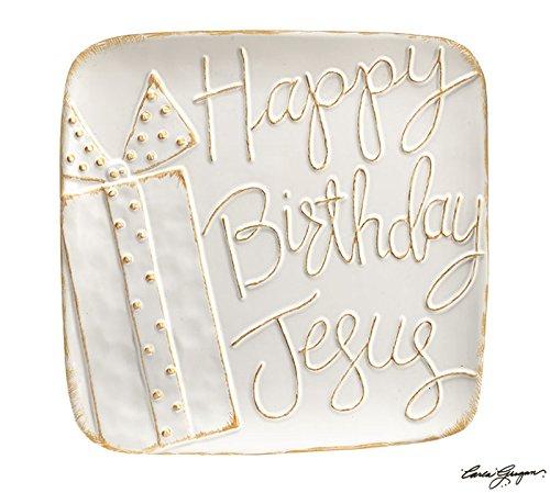 """Burton and Burton Happy Birthday Jesus White Ceramic Platter Raised Brush Gold Words 13.75"""""""