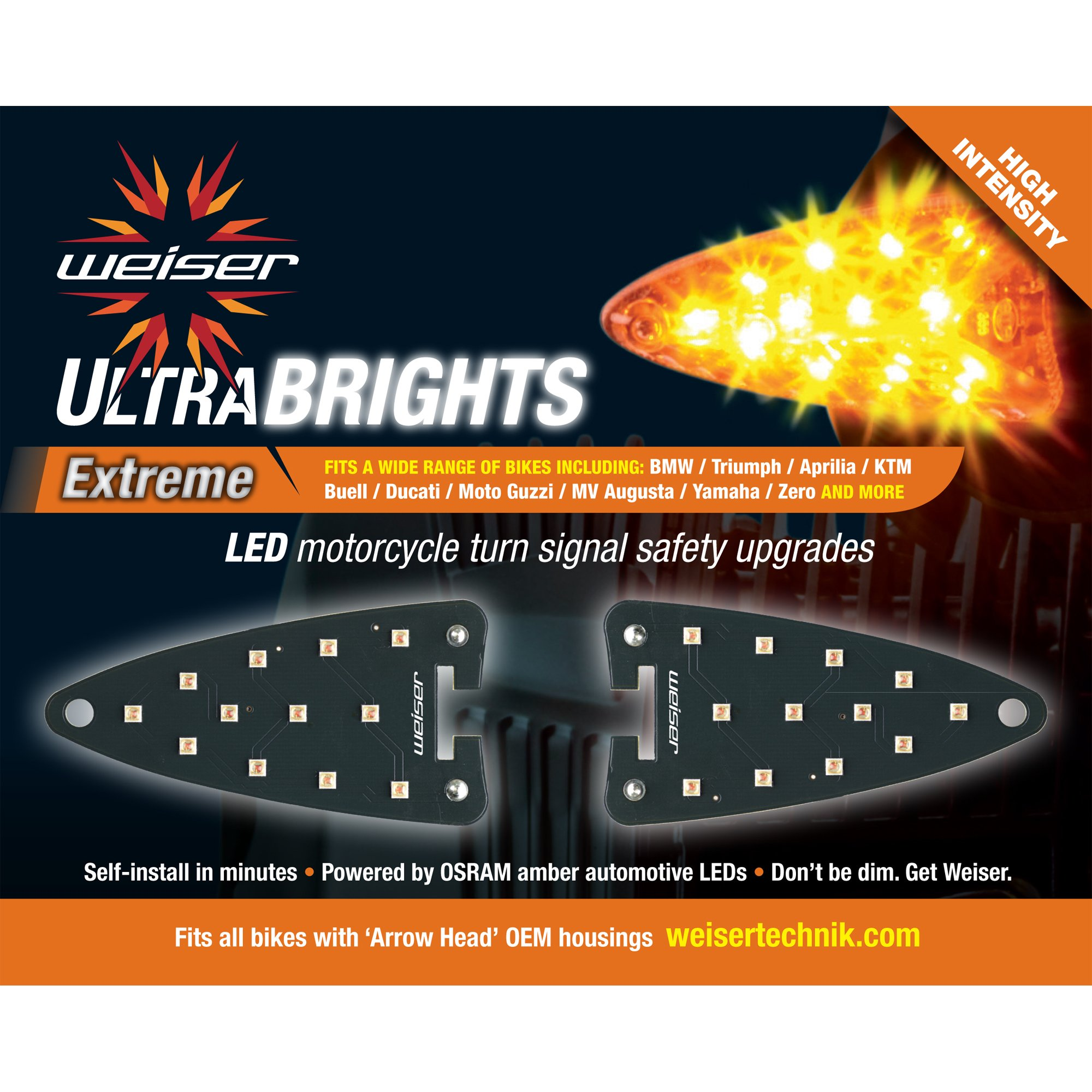 Ultrabrights Extreme LED Turn Signal Upgrades for Aprilia, Triumph, KTM, Buell, Ducati, MV Augusta, Moto Guzzi, Triumph, Yamaha and Zero Motorcycles
