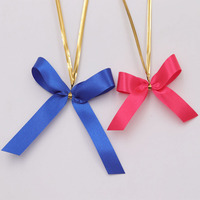 Customise satin ribbon bow with wire twist for packaging