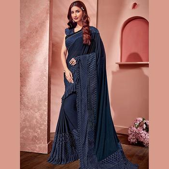 6e89e2aa3a Designer Lycra Net Wedding Wear Sequins Work Sarees Collection ...