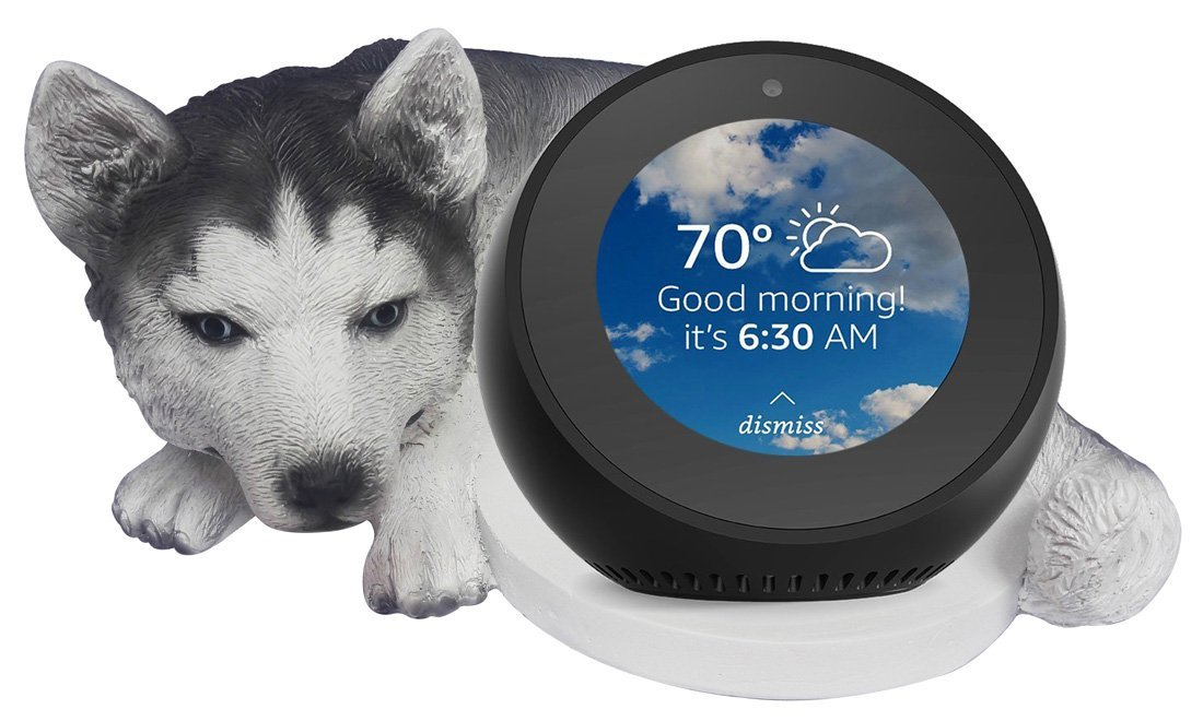 FitSand(TM) Husky Dog Crafted Statue Echo Spot Holder Stand Guard Station for Amazon Echo Spot