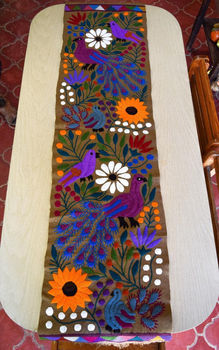 Hand Machine Embroidered Mexican Style Table Runner Canvas Mexican Folk Art  L Wall Decor L Bohemian