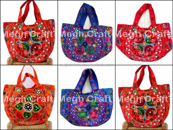f6b18d2912 Vintage Boho Bohemian Mirror Work Handbags- Tribal Ethnic Kutch Handbags -  Kuchi Banjara Mirror work