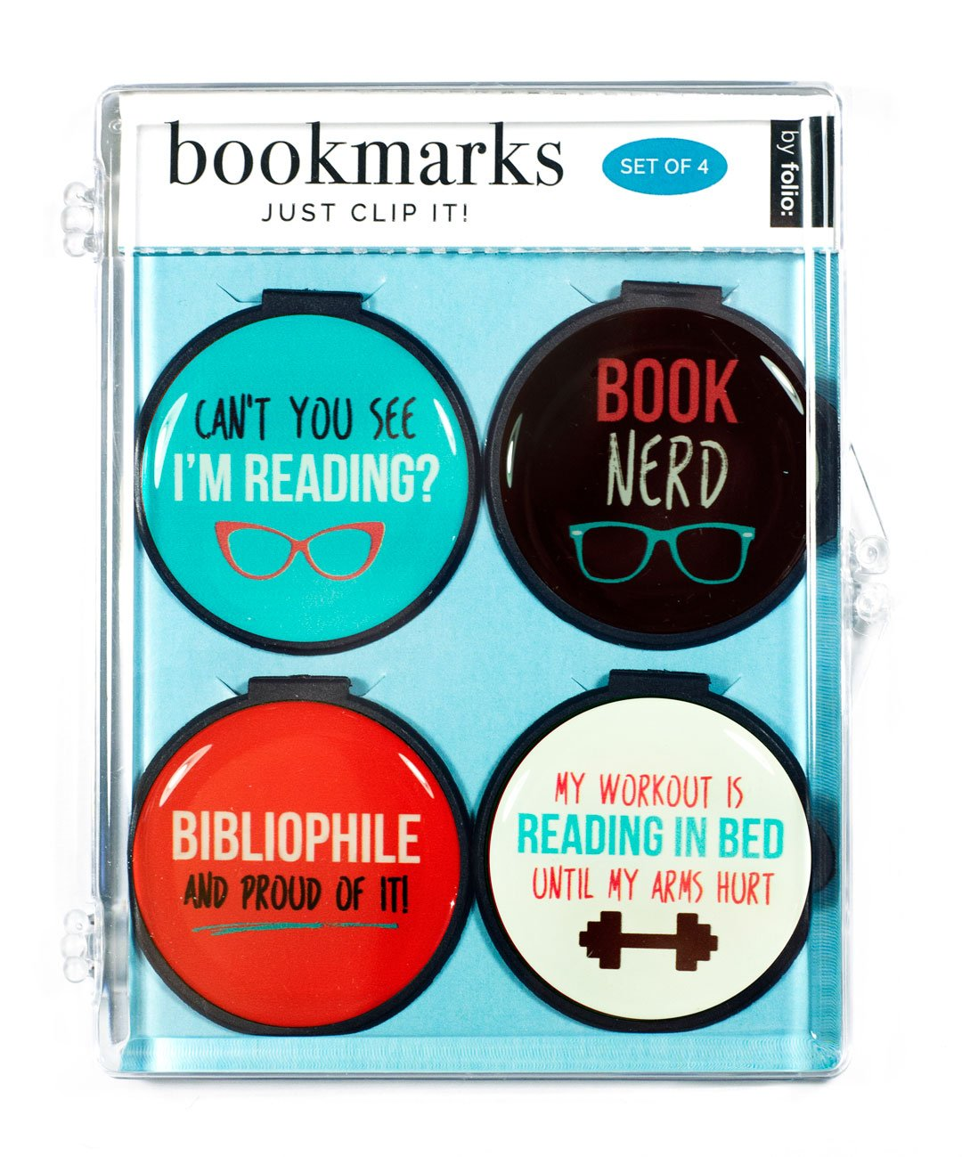 "Just Clip it! Quote Bookmarks - (Set of 4 clip over the page markers) - BOOK NERD, MY WORKOUT is READING IN BED, Can't you see I""M READING, BIBLIOPHILE"