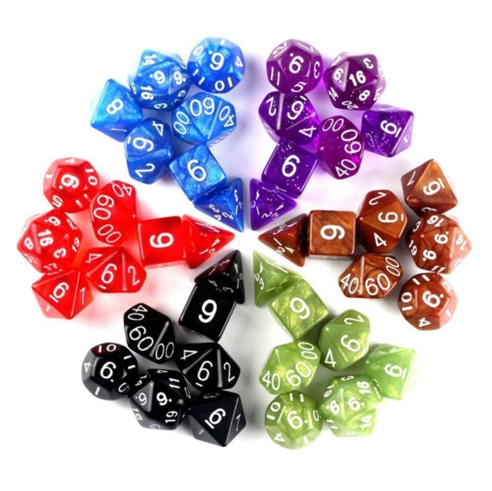 Pettstore 7pcs/Set Polyhedral Games Dice, D4-D20 Seven Colors Complete set for Dungeons and Dragons DND D&D MTG RPG Card Games with Pouches, Color Random