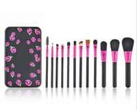 In Stock Wholesale 12pcs Professional Private Label Makeup Brush Set with Metal Case,Powder Blush Foundation Cosmetic Brush Kit
