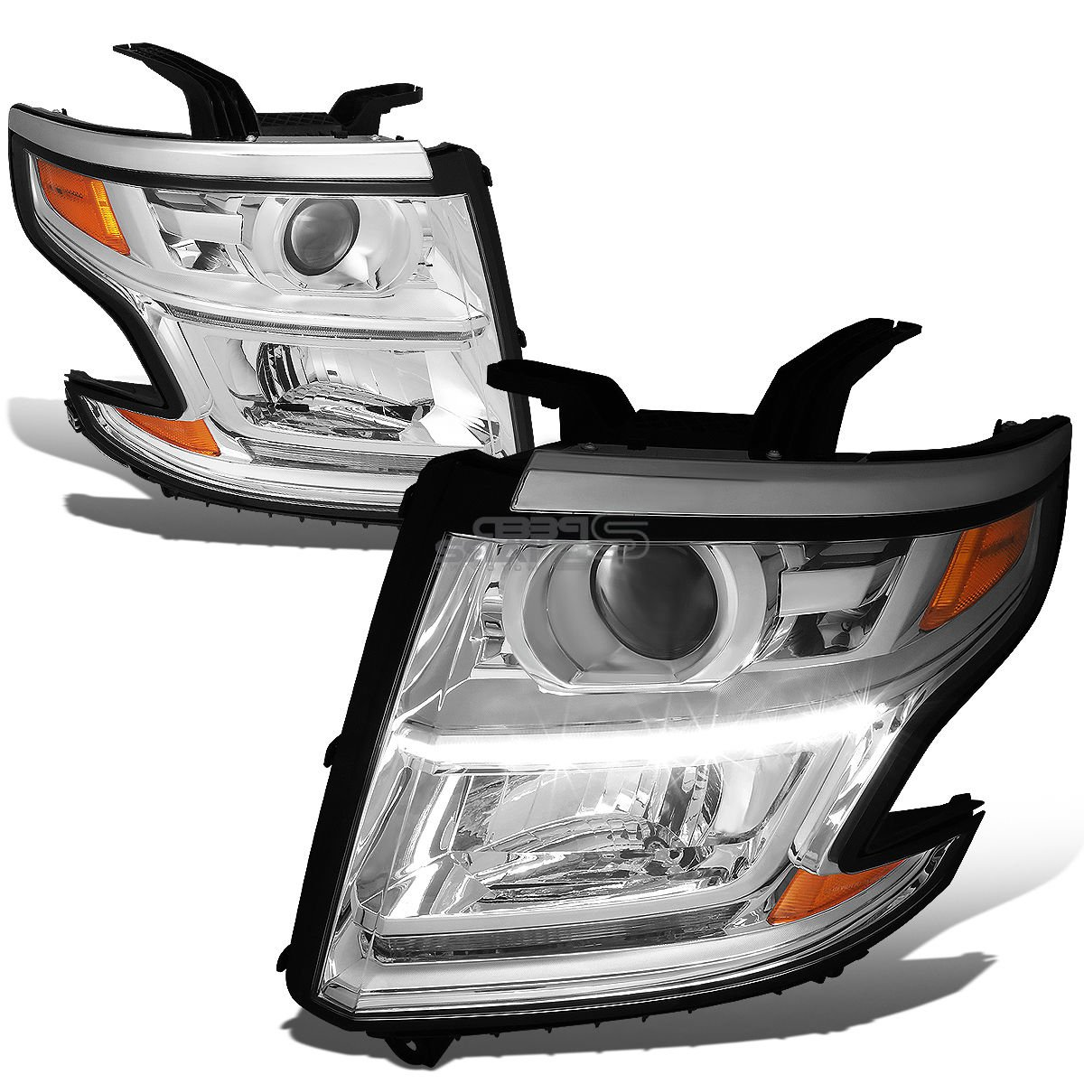 Rxmotor Chevy Tahoe Suburban LED Headlight Projector Front Pair Driver Passenger LH RH Assembly Direct Replacement for 2015 2016 2017 (Amber Chrome)