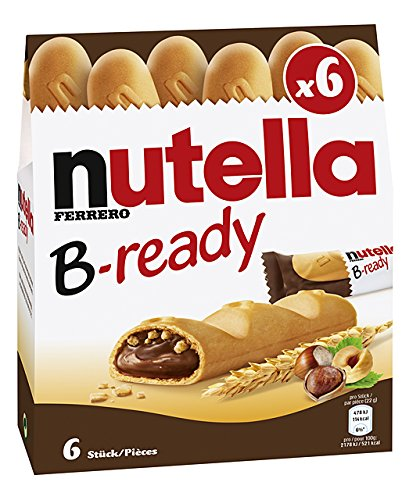 """Ferrero: """"Nutella B-ready NEW + NUTELLA """" a crisp wafer of bread in the form of mini - baguette stuffed with a creamy Nutella 6 pieces 4.6 oz (132g) Pack of 4 [ Italian Import ]"""