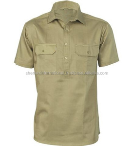 Custom Mens Cotton Drill Close Front Short Sleeve Work Shirt