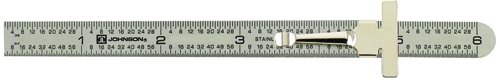 """Johnson Level & Tool # 7203 Stainless Steel Pocket Rule with inch 1/64""""and mm/metric graduations"""