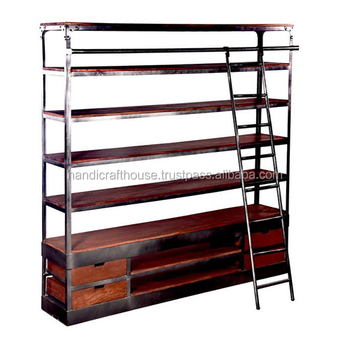 Vintage Indian Old Wood Metal Wide Shelf And Drawers With Ladder Library Bookcase White Cube Custom
