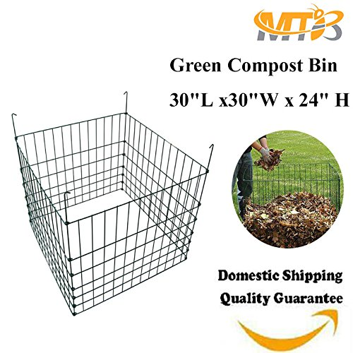 "MTB Garden Wire Compost Bin 30""L x30""W x 24"" H, Green"